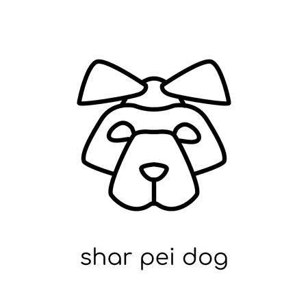 Shar Pei dog icon. Trendy modern flat linear vector Shar Pei dog icon on white background from thin line dogs collection, editable outline stroke vector illustration