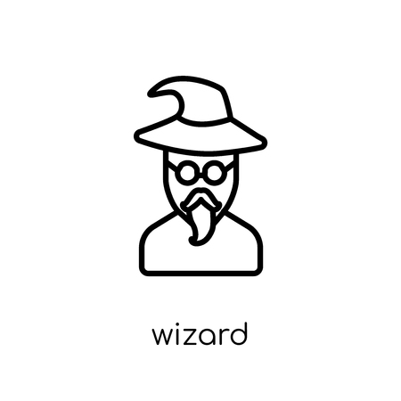 Wizard icon. Trendy modern flat linear vector Wizard icon on white background from thin line Fairy Tale collection, editable outline stroke vector illustration Foto de archivo - 112230390