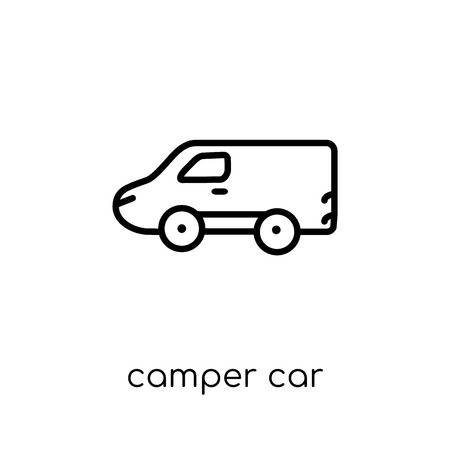 camper car icon. Trendy modern flat linear vector camper car icon on white background from thin line Transportation collection, outline vector illustration