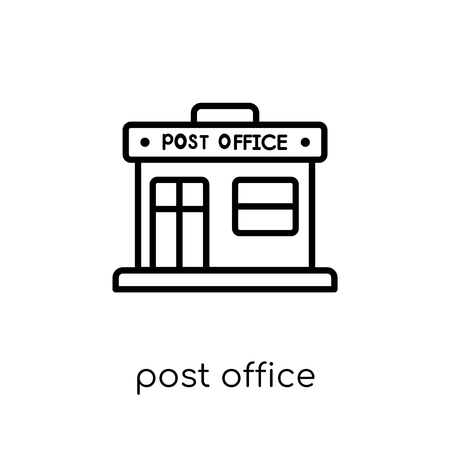 post office icon. Trendy modern flat linear vector post office icon on white background from thin line Delivery and logistic collection, outline vector illustration