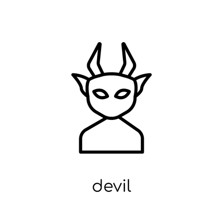 Devil icon. Trendy modern flat linear vector Devil icon on white background from thin line Fairy Tale collection, editable outline stroke vector illustration 向量圖像