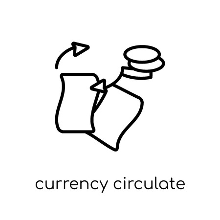 currency circulate icon. Trendy modern flat linear vector currency circulate icon on white background from thin line Cryptocurrency economy and finance collection, outline vector illustration