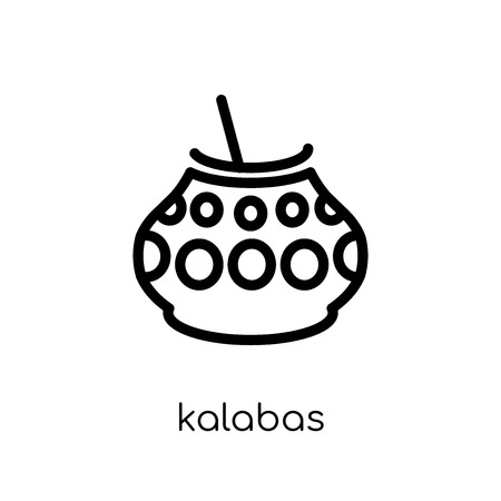 kalabas icon. Trendy modern flat linear vector kalabas icon on white background from thin line American Indigenous Signals collection, outline vector illustration Foto de archivo - 112230014