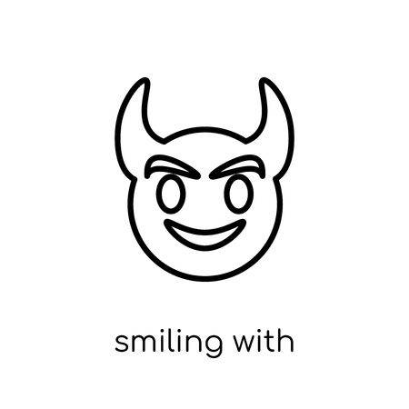 smiling with horns emoji icon. Trendy modern flat linear vector smiling with horns emoji icon on white background from thin line Emoji collection, outline vector illustration Archivio Fotografico - 111336474