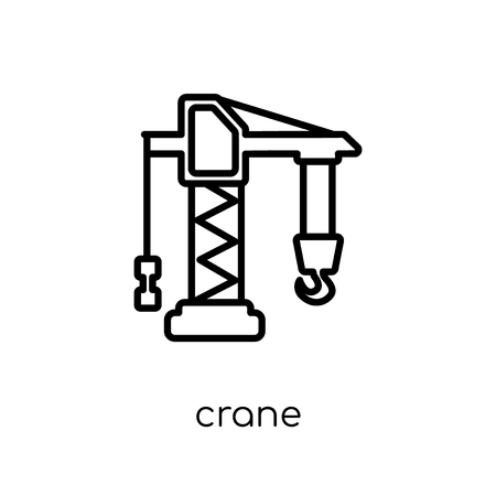 Crane icon. Trendy modern flat linear vector Crane icon on white background from thin line Construction collection, editable outline stroke vector illustration