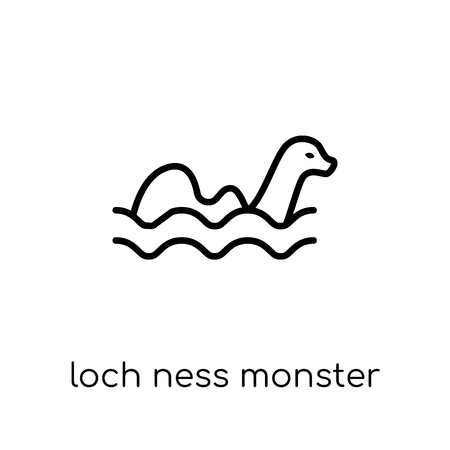 Icono del monstruo del lago ness. Moda moderno icono de monstruo de Loch ness vector plano lineal sobre fondo blanco de línea fina colección de cuento de hadas, Ilustración de vector de movimiento editables contorno