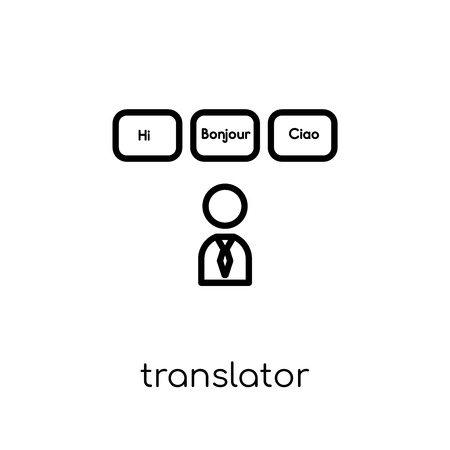 Translator icon. Trendy modern flat linear vector Translator icon on white background from thin line E-learning and education collection, editable outline stroke vector illustration