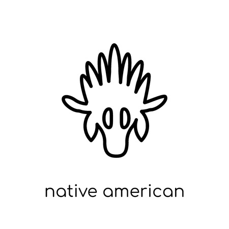 native american skull icon. Trendy modern flat linear vector native american skull icon on white background from thin line American Indigenous Signals collection, outline vector illustration Illustration