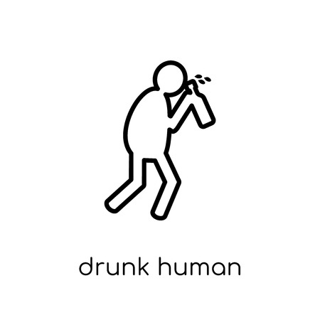 drunk human icon. Trendy modern flat linear vector drunk human icon on white background from thin line Feelings collection, editable outline stroke vector illustration 矢量图像
