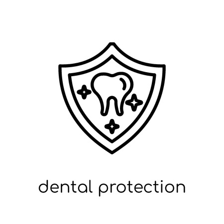 Dental Protection icon. Trendy modern flat linear vector Dental Protection icon on white background from thin line Dentist collection, editable outline stroke vector illustration