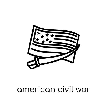 american civil war icon. Trendy modern flat linear vector american civil war icon on white background from thin line United States of America collection, editable outline stroke vector illustration