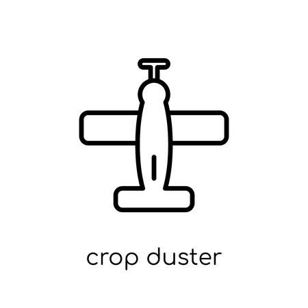 crop duster icon. Trendy modern flat linear vector crop duster icon on white background from thin line Transportation collection, outline vector illustration