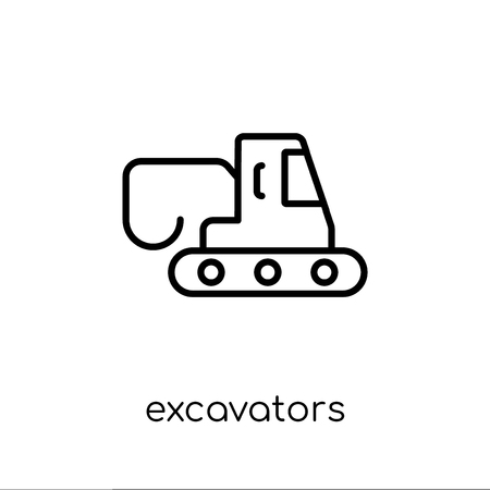 excavators icon. Trendy modern flat linear vector excavators icon on white background from thin line Transportation collection, outline vector illustration