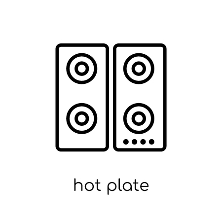 hot plate icon. Trendy modern flat linear vector hot plate icon on white background from thin line Electronic devices collection, outline vector illustration