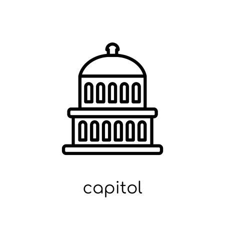 Capitol icon. Trendy modern flat linear vector Capitol icon on white background from thin line United States of America collection, editable outline stroke vector illustration Çizim