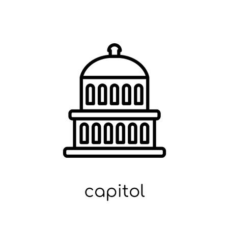 Icono del Capitolio. Moda moderno icono de Capitolio vector plano lineal sobre fondo blanco de línea fina colección de Estados Unidos de América, Ilustración de vector de movimiento editables contorno