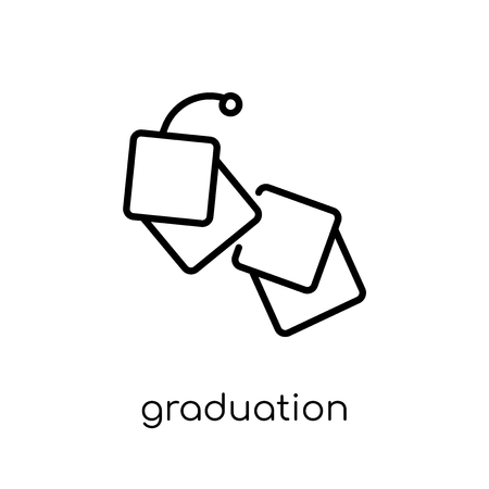 Graduation icon. Trendy modern flat linear vector Graduation icon on white background from thin line E-learning and education collection, editable outline stroke vector illustration