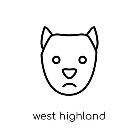 west highland white terrier dog icon. Trendy modern flat linear vector west highland white terrier dog icon on white background from thin line dogs collection, outline vector illustration