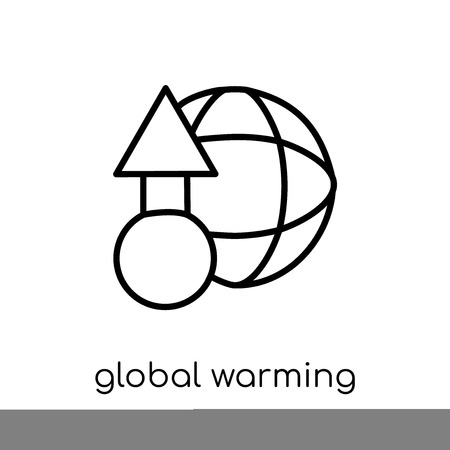 global warming icon. Trendy modern flat linear vector global warming icon on white background from thin line Ecology collection, outline vector illustration