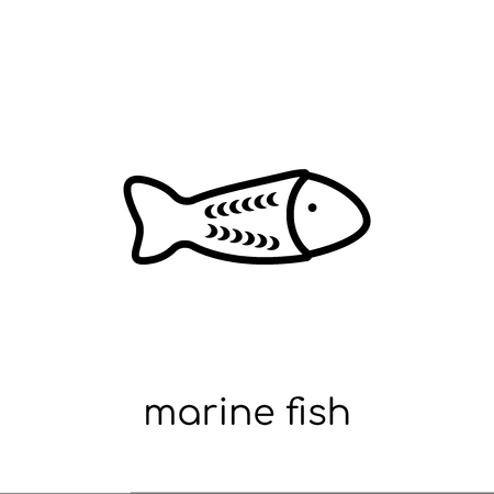 marine fish icon. Trendy modern flat linear vector marine fish icon on white background from thin line Australia collection, outline vector illustration Illustration