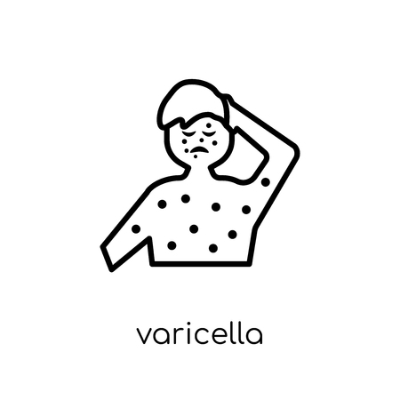 Varicella icon. Trendy modern flat linear vector Varicella icon on white background from thin line Diseases collection, editable outline stroke vector illustration