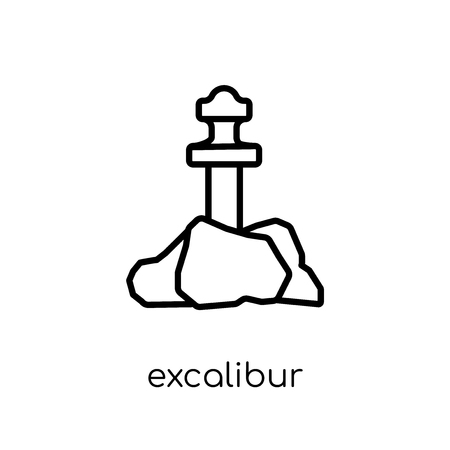 Excalibur icon. Trendy modern flat linear vector Excalibur icon on white background from thin line Fairy Tale collection, editable outline stroke vector illustration