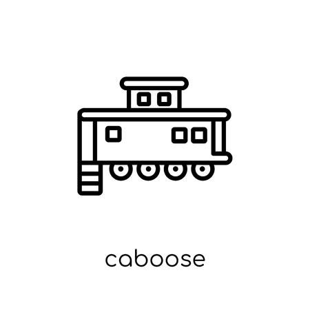 caboose icon. Trendy modern flat linear vector caboose icon on white background from thin line Transportation collection, outline vector illustration Ilustração