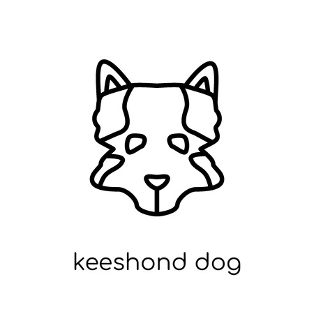 Keeshond dog icon. Trendy modern flat linear vector Keeshond dog icon on white background from thin line dogs collection, editable outline stroke vector illustration