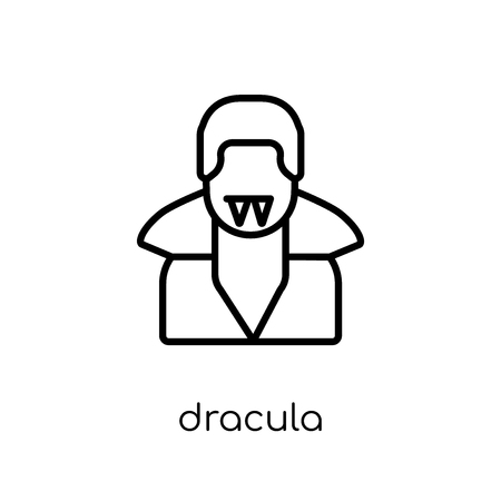 Dracula icon. Trendy modern flat linear vector Dracula icon on white background from thin line Fairy Tale collection, editable outline stroke vector illustration Banque d'images - 112229700