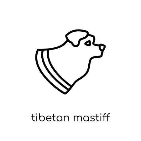 Tibetan Mastiff dog icon. Trendy modern flat linear vector Tibetan Mastiff dog icon on white background from thin line dogs collection, editable outline stroke vector illustration Ilustração