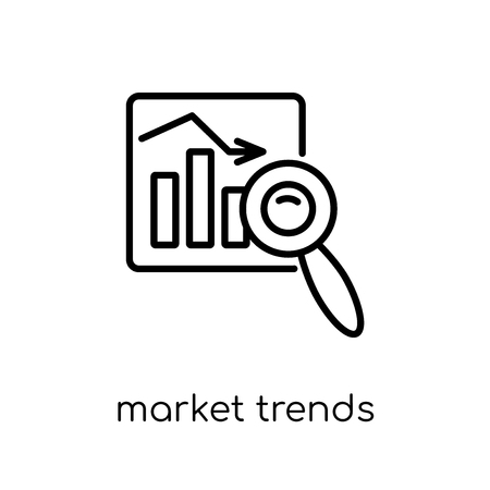 market trends icon. Trendy modern flat linear vector market trends icon on white background from thin line Cryptocurrency economy and finance collection, editable outline stroke vector illustration Illustration