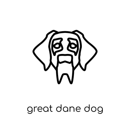 Great Dane dog icon. Trendy modern flat linear vector Great Dane dog icon on white background from thin line dogs collection, editable outline stroke vector illustration Vettoriali