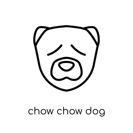 Chow Chow dog icon. Trendy modern flat linear vector Chow Chow dog icon on white background from thin line dogs collection, editable outline stroke vector illustration