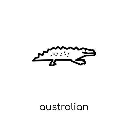 australian alligator icon. Trendy modern flat linear vector australian alligator icon on white background from thin line Australia collection, outline vector illustration