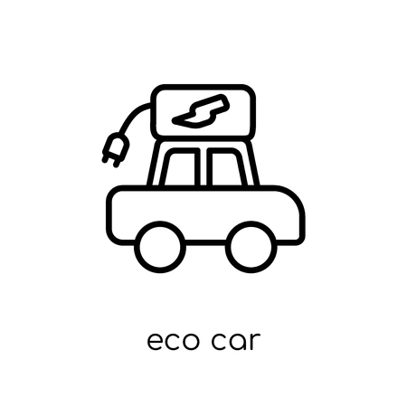 eco car icon. Trendy modern flat linear vector eco car icon on white background from thin line Ecology collection, outline vector illustration