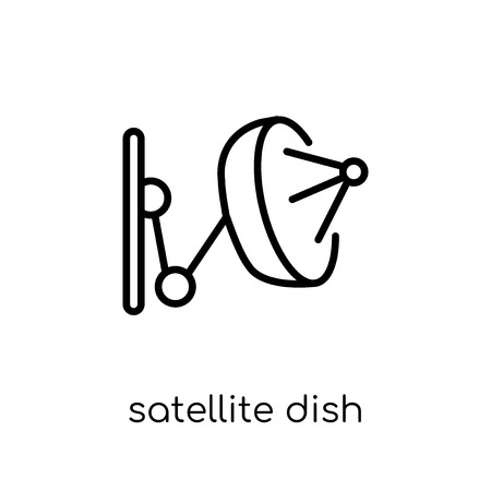 Satellite dish icon. Trendy modern flat linear vector Satellite dish icon on white background from thin line Electronic devices collection, editable outline stroke vector illustration Illustration