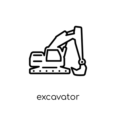 Excavator icon. Trendy modern flat linear vector Excavator icon on white background from thin line Construction collection, editable outline stroke vector illustration Vettoriali