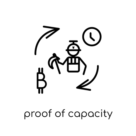 proof of capacity icon. Trendy modern flat linear vector proof of capacity icon on white background from thin line Cryptocurrency economy and finance collection, outline vector illustration