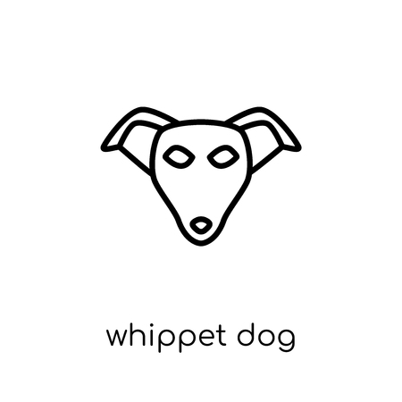 Whippet dog icon. Trendy modern flat linear vector Whippet dog icon on white background from thin line dogs collection, editable outline stroke vector illustration