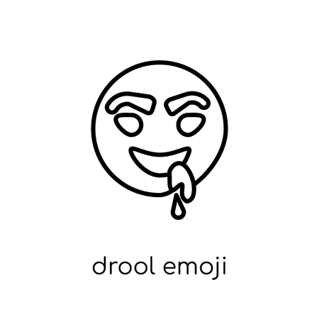 drool emoji icon. Trendy modern flat linear vector drool emoji icon on white background from thin line Emoji collection, outline vector illustration