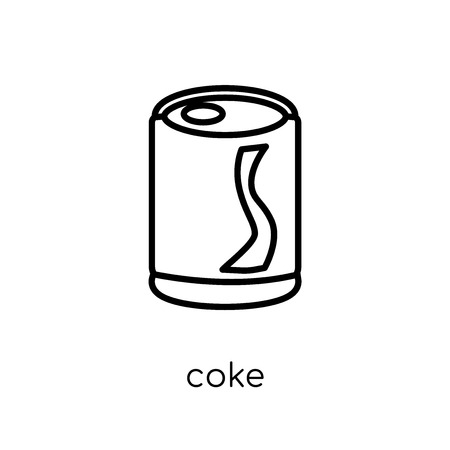 coke icon. Trendy modern flat linear vector coke icon on white background from thin line Drinks collection, outline vector illustration