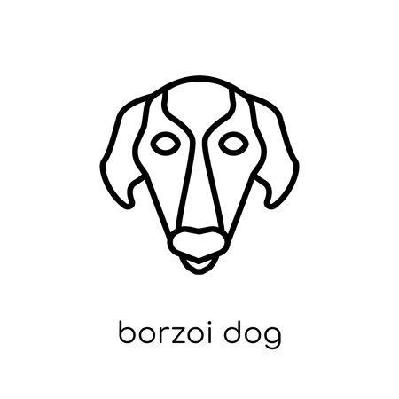 Borzoi dog icon. Trendy modern flat linear vector Borzoi dog icon on white background from thin line dogs collection, editable outline stroke vector illustration