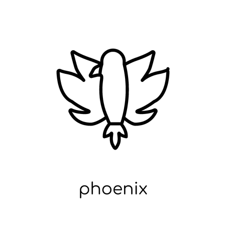 Phoenix icon. Trendy modern flat linear vector Phoenix icon on white background from thin line Fairy Tale collection, editable outline stroke vector illustration