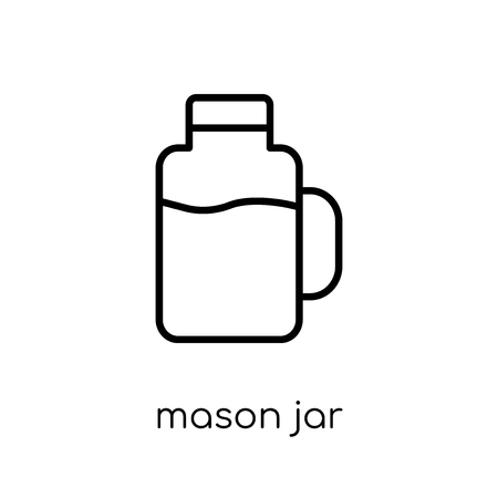 mason jar icon. Trendy modern flat linear vector mason jar icon on white background from thin line Fruit and vegetables collection, outline vector illustration