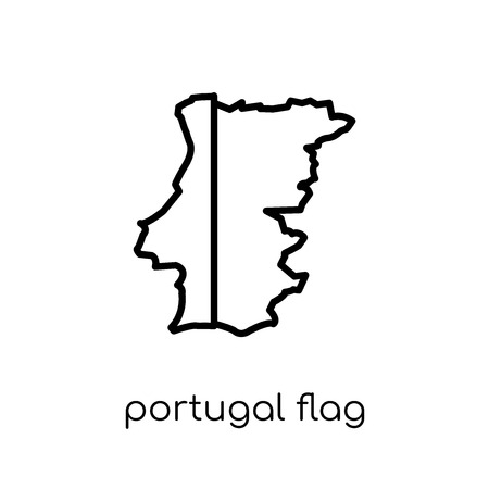 Portugal flag icon. Trendy modern flat linear vector Portugal flag icon on white background from thin line Country Flags collection, editable outline stroke vector illustration