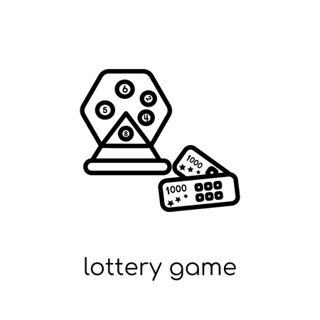 lottery game icon. Trendy modern flat linear vector lottery game icon on white background from thin line Arcade collection, outline vector illustration