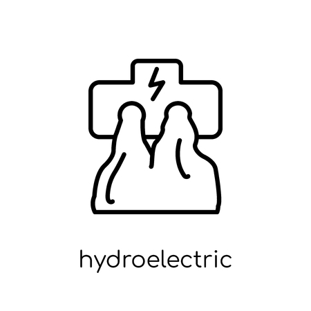 hydroelectric power station icon. Trendy modern flat linear vector hydroelectric power station icon on white background from thin line Ecology collection, outline vector illustration
