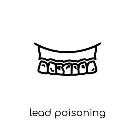 Lead poisoning icon. Trendy modern flat linear vector Lead poisoning icon on white background from thin line Diseases collection, editable outline stroke vector illustration Иллюстрация
