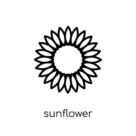 sunflower icon. Trendy modern flat linear vector sunflower icon on white background from thin line Ecology collection, outline vector illustration