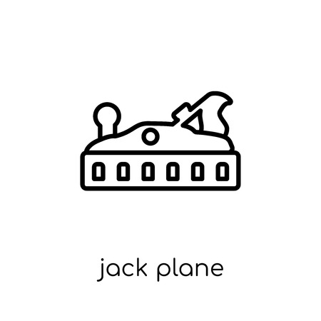 Jack plane icon. Trendy modern flat linear vector Jack plane icon on white background from thin line Construction collection, editable outline stroke vector illustration